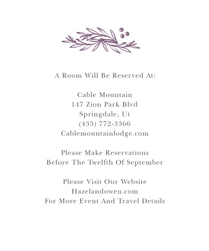 Delicate Laurel Accommodation Cards