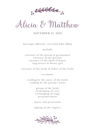 Delicate Laurel Wedding Programs