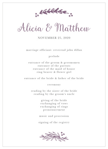 Wedding Ceremony Programs.Wedding Programs Match Your Colors Style Free Basic