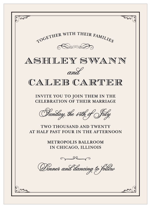 Victorian Wedding Invitations - Match Your Color & Style Free!