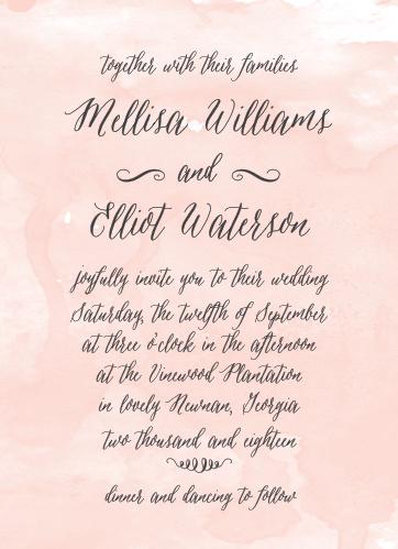 Watercolor Script Wedding Invitations