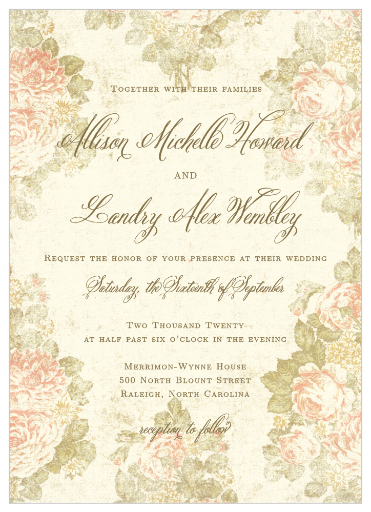 Romantic Vintage Wedding Invitations By Basic Invite