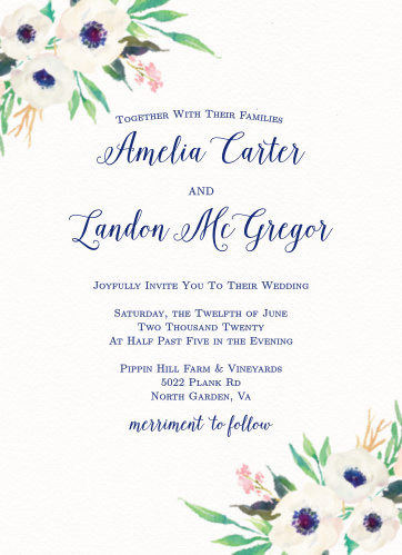 Watercolor Anemone Wedding Invitations