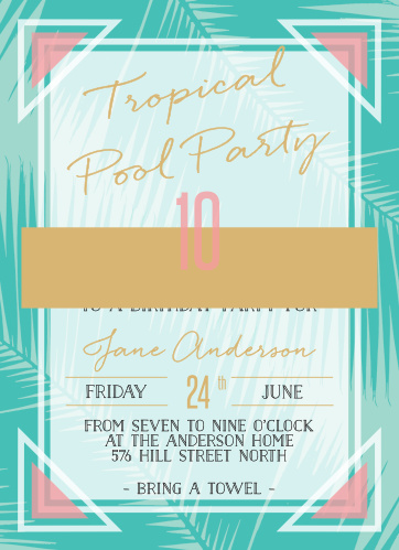 pool party invitations match your color style free