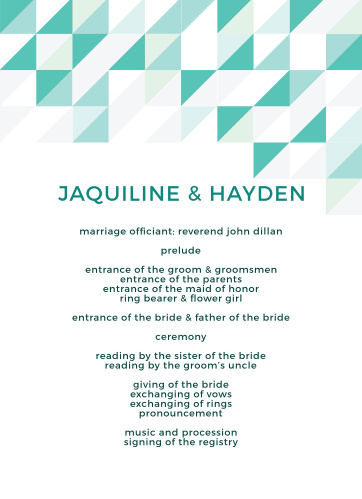 Chic Geometric Wedding Programs