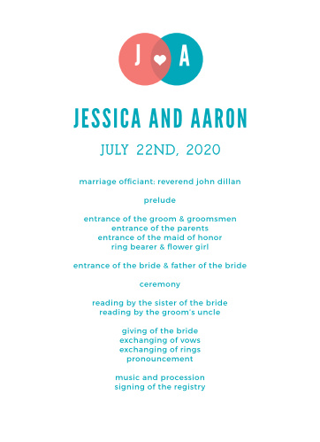 Modern Venn Wedding Programs