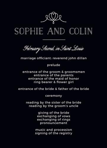 Classic Penmanship Wedding Programs