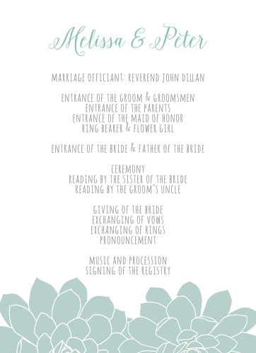 Sweet Succulents Wedding Programs
