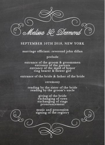 Fancy Chalkboard Wedding Programs