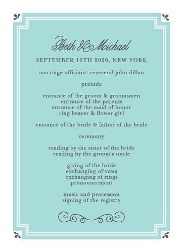 Parisian Chic Wedding Programs