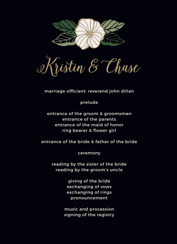 Garden Floral Wedding Programs