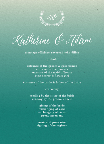 Rustic Ombre Wedding Programs