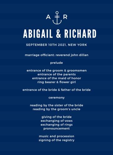 Modern Nautical Wedding Programs