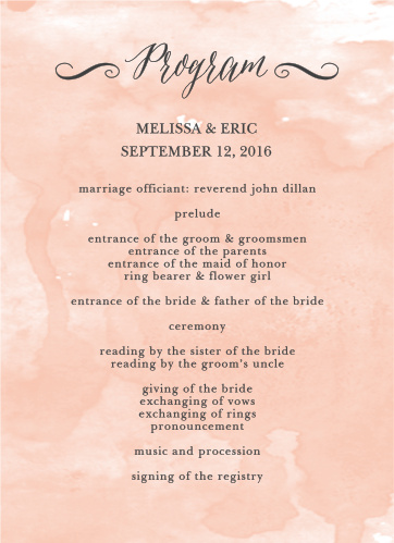 Watercolor Script Wedding Programs