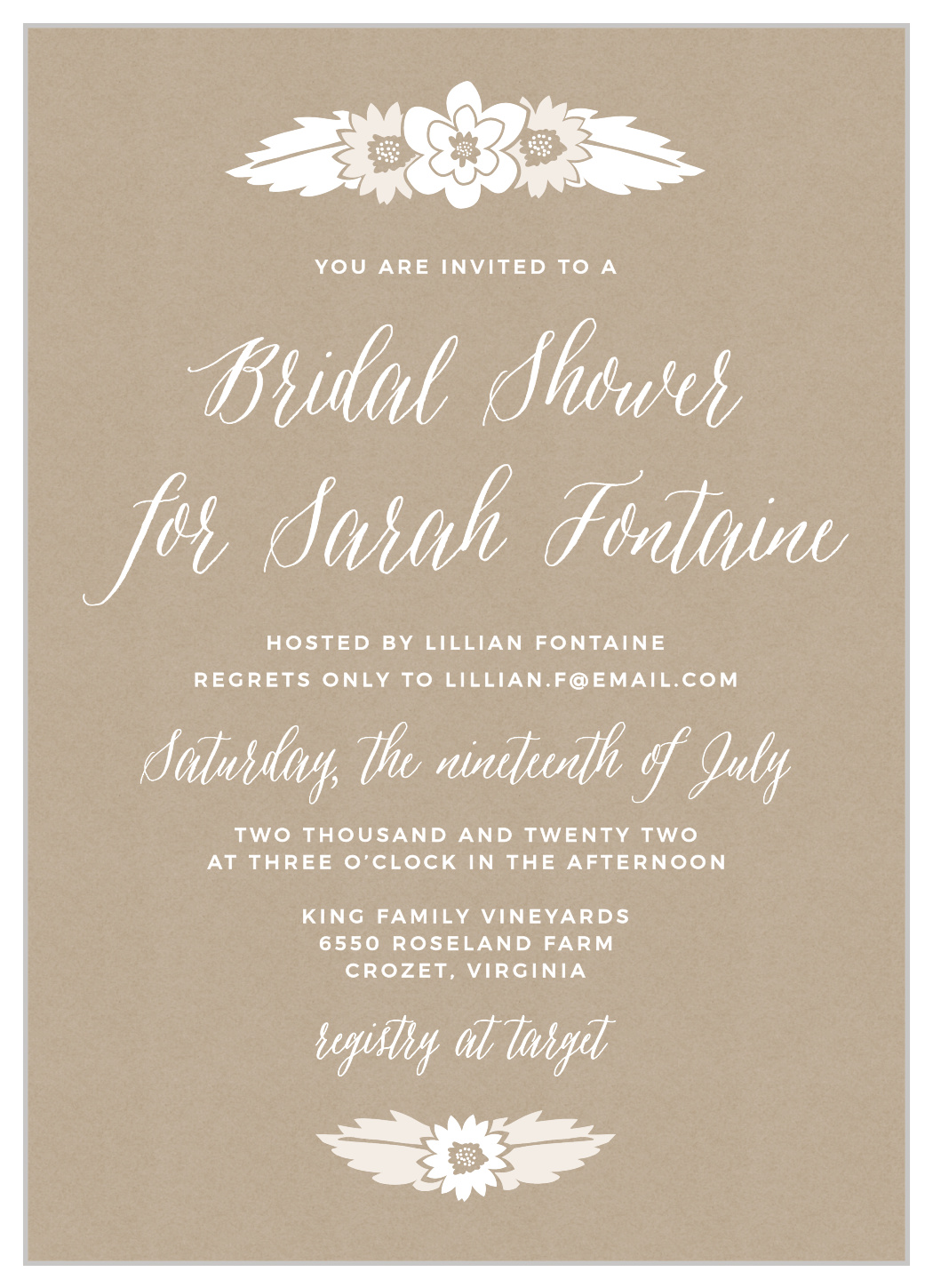 Rustic Floral Bridal Shower Invitations By Basic Invites