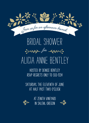 folksy floral bridal shower invitations