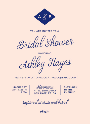 diamond monogram bridal shower invitations