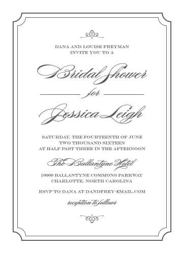 elegant script bridal shower invitations