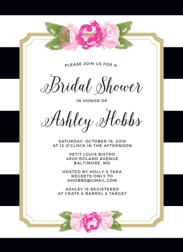 floral stripe bridal shower invitations by basic invites