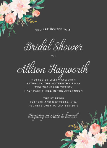 blossoming love bridal shower invitations