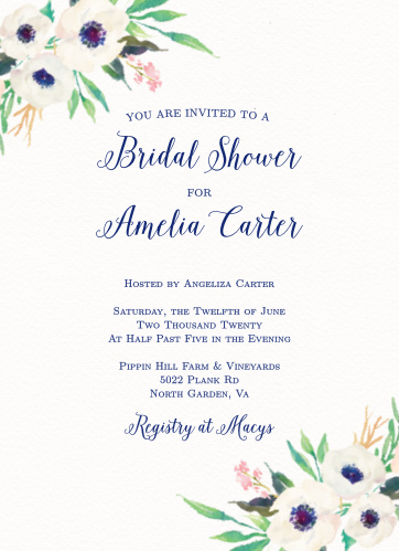 watercolor anemone bridal shower invitations