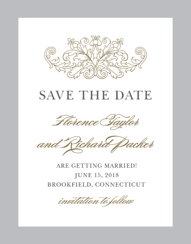 vintage damask save the date cards