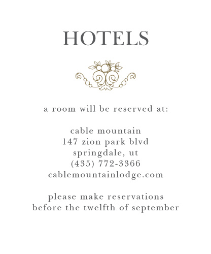 Vintage Damask Accommodation Cards