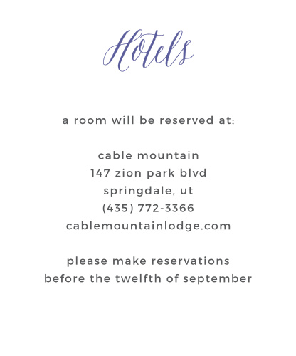 Rustic Script Accommodation Cards