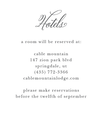 Calligraphy Script Accommodation Cards