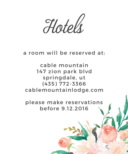Blossoming Love Accommodation Cards