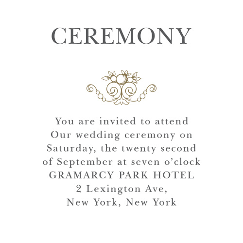 Vintage Damask Ceremony Cards