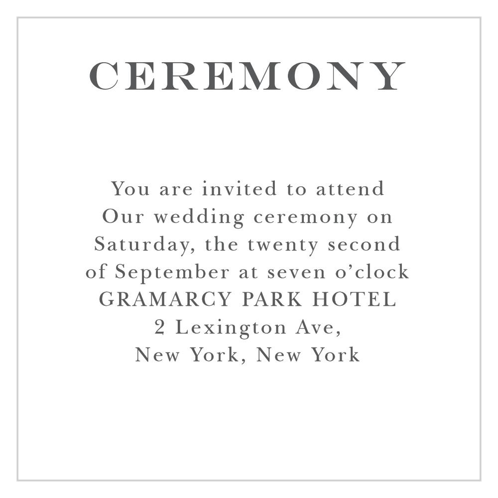 Elegant Script Ceremony Cards By Basic Invite