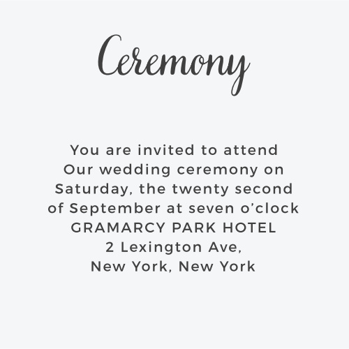 Garden Party Ceremony Cards