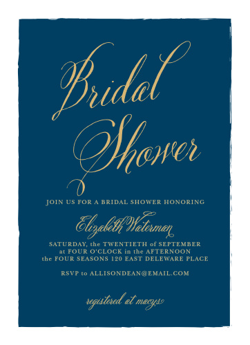 calligraphy script foil bridal shower invitations