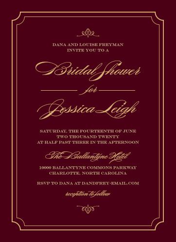 elegant script foil bridal shower invitations