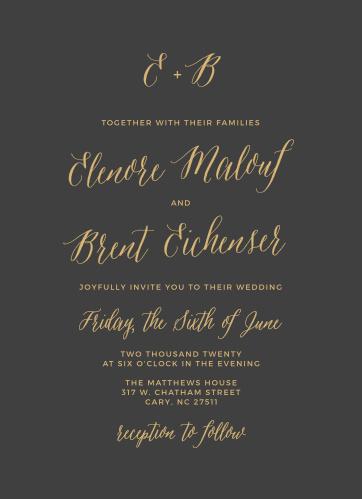 Rustic Script Foil Wedding Invitations