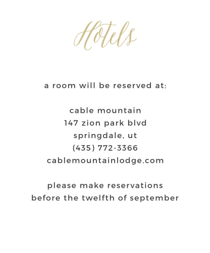 Rustic Script Foil Accommodation Cards