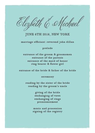 Calligraphy Script Wedding Programs