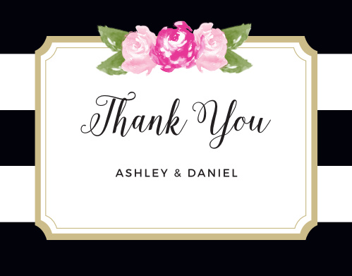 Floral Stripe Thank You Cards