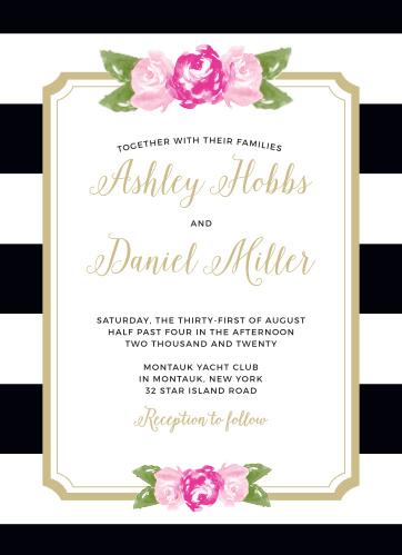 Floral Stripe Foil Wedding Invitations