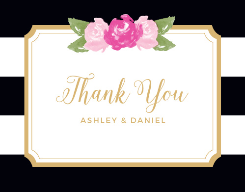 Floral Stripe Foil Thank You Cards