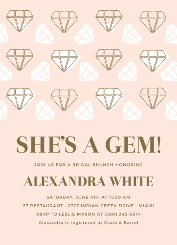 shes a gem bridal shower invitations