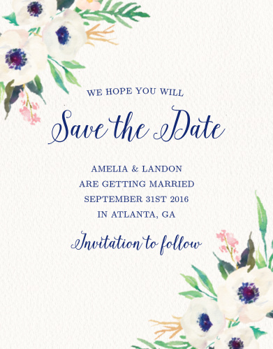 watercolor anemone save the date cards