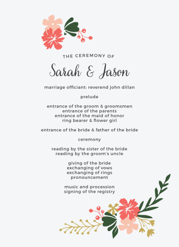 Garden Party Wedding Programs