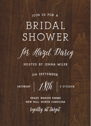 rustic wood bridal shower invitations