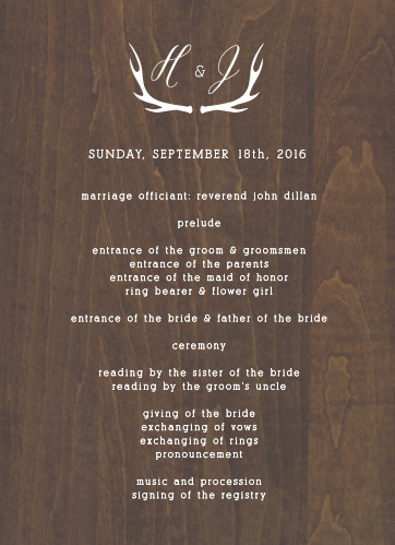 Rustic Wood Wedding Programs