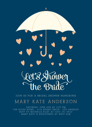 raining love bridal shower invitations