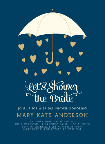 raining love foil bridal shower invitations