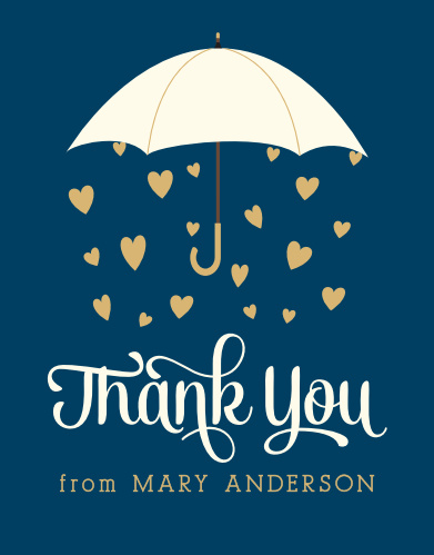 Raining Love Foil Bridal Shower Thank You Cards