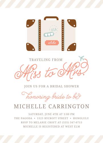 cutesy carry on bridal shower invitations